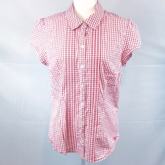 Tommy Hilfiger Tops - Tommy Hilfiger- Red/white button up, cap sleeve XL